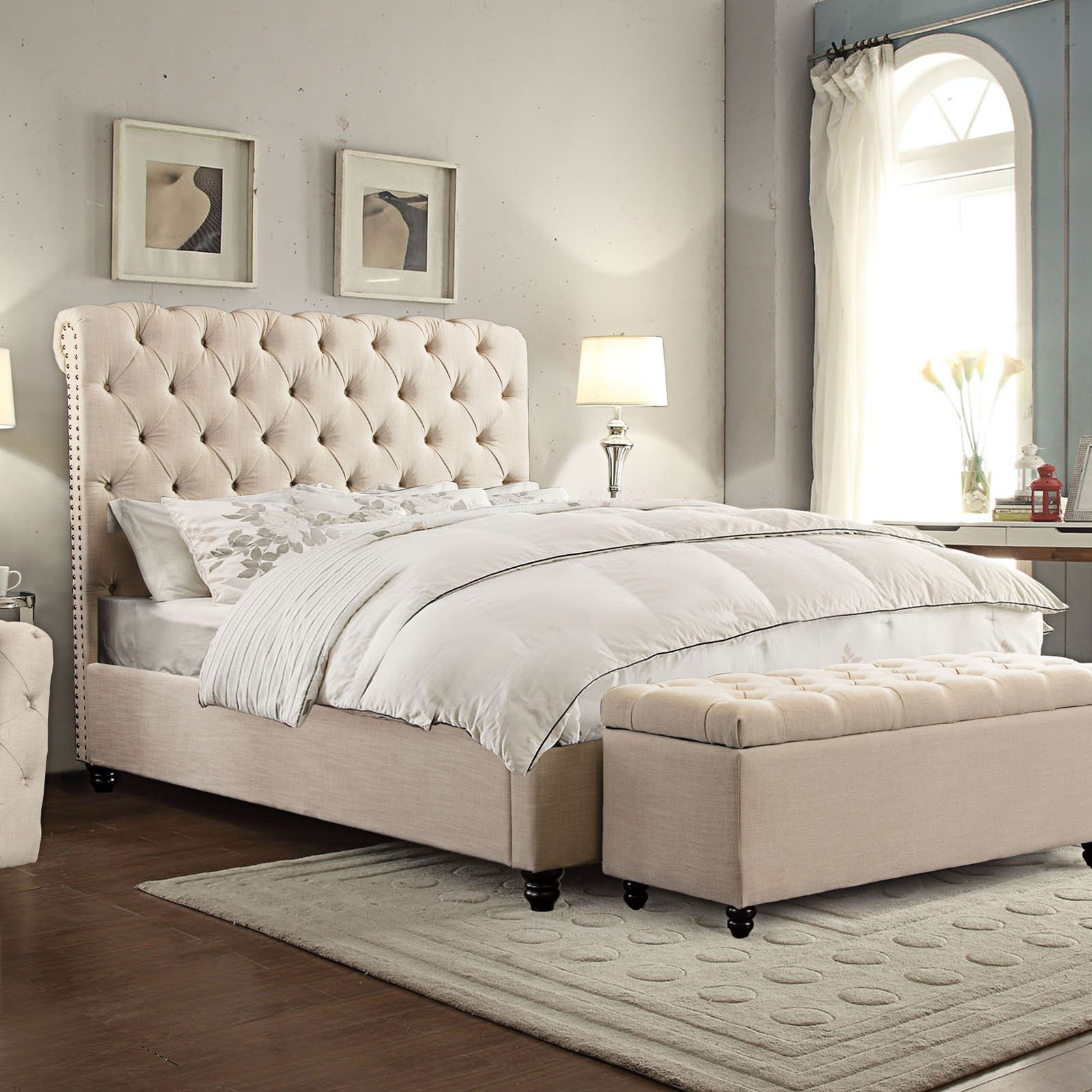 Diamond Sofa Chesterfield Tufted Bed with Scrolled Headboard and Nail Head Accent - Sand Linen