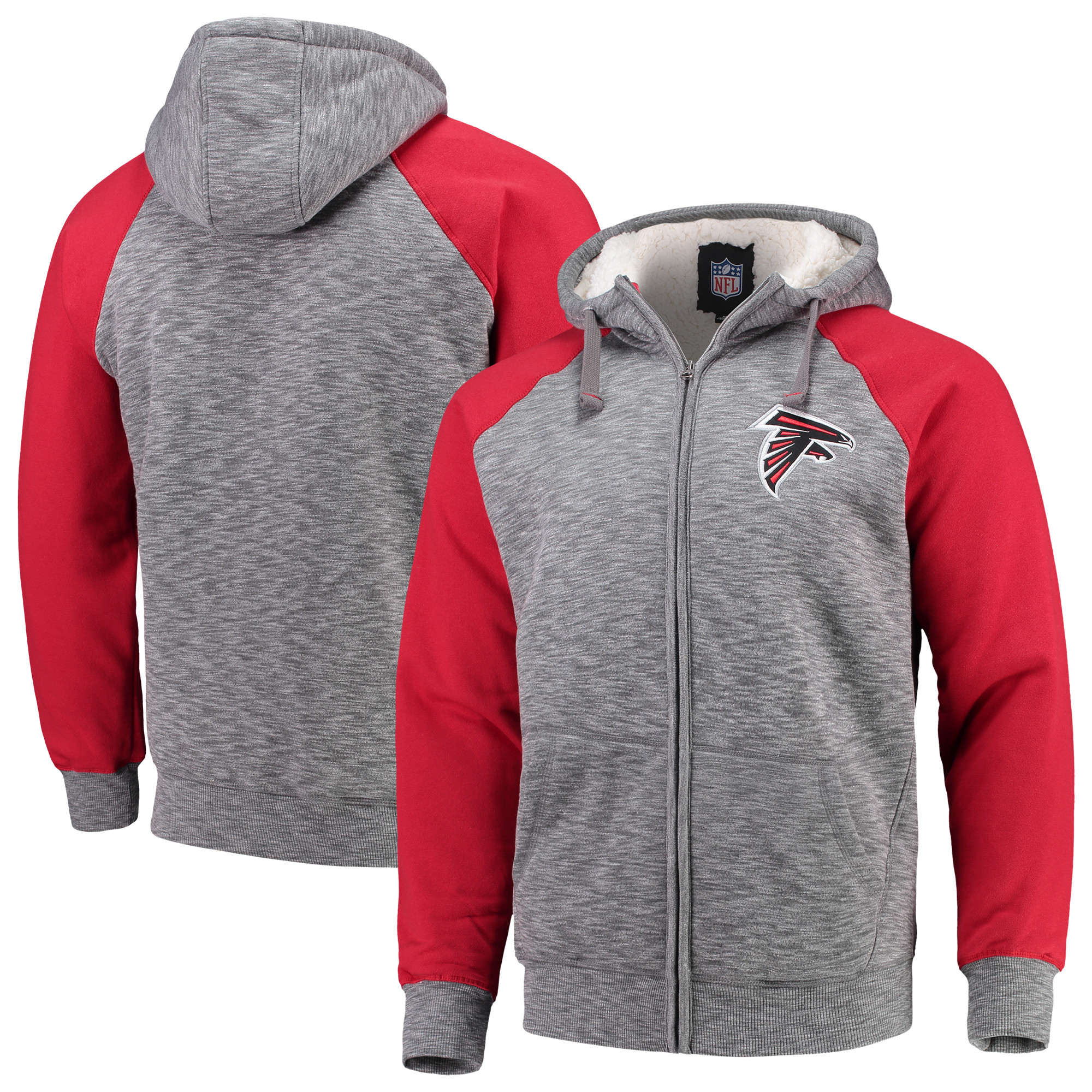 Atlanta Falcons G-III Sports by Carl Banks Turning Point Sherpa Lined Full-Zip Jacket - Heathered Gray/Red