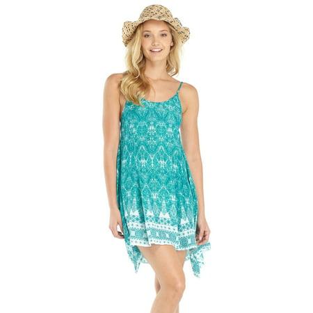Lagaci Boho Gauze Geometric Print Tank Dress w Flare Sides, Harbor Blue ()