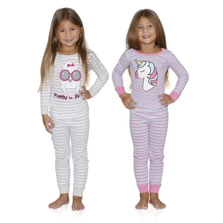 Prestigez Girls 4 Piece Fancy Cotton Pajamas Sets, Dog and Unicorn, Size: 5-6