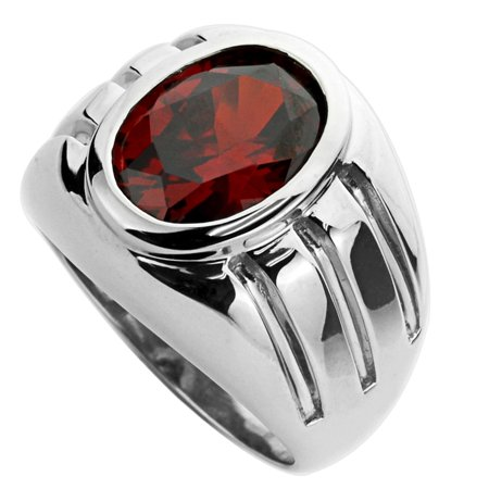 Men's Sterling Silver Oval Cut Simulated Garnet CZ Domed Mens Cocktail Ring 11MM ( Size 9 to 13