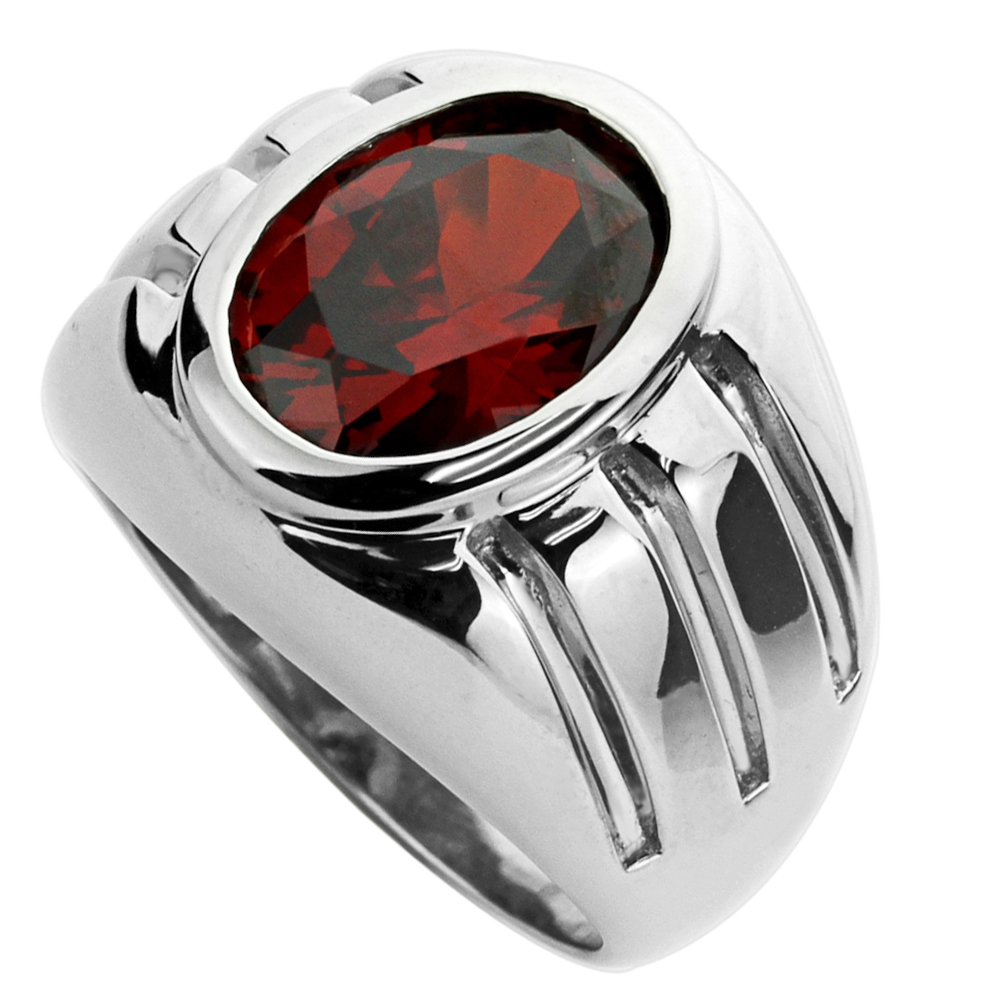 Men's Sterling Silver Oval Cut Simulated Garnet CZ Domed Mens Cocktail Ring 11MM ( Size 9 to 13 )