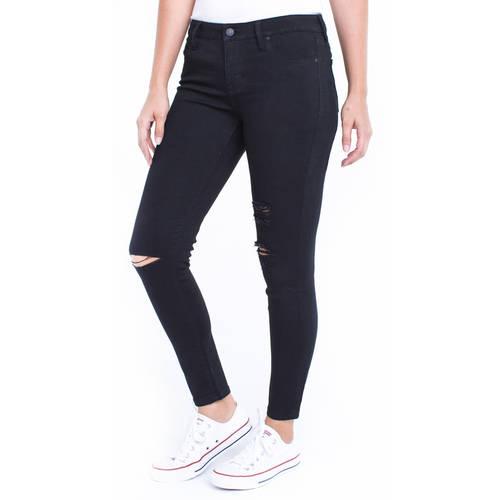Juniors' Super Soft Stretch 5 Pocket Ankle Skinny Jeans with Destruction