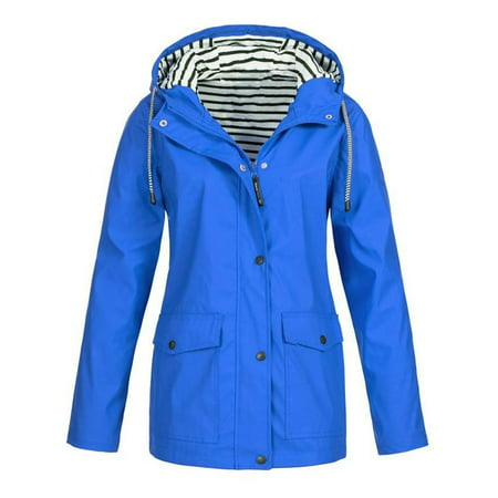 Cotton Blend Trench Coat - JustVH Women's Waterproof Jacket Hooded Lightweigth Raincoat Active Outdoor Trench Coat