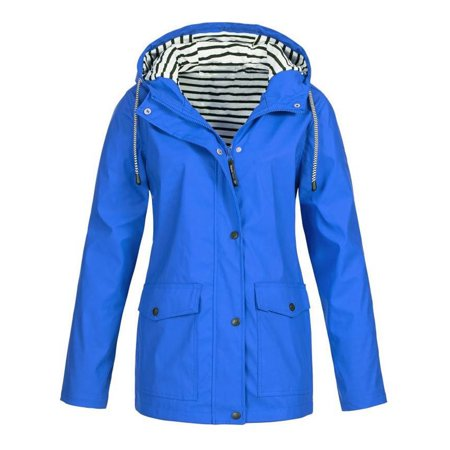 JustVH Women's Waterproof Jacket Hooded Lightweigth Raincoat Active Outdoor Trench Coat ()