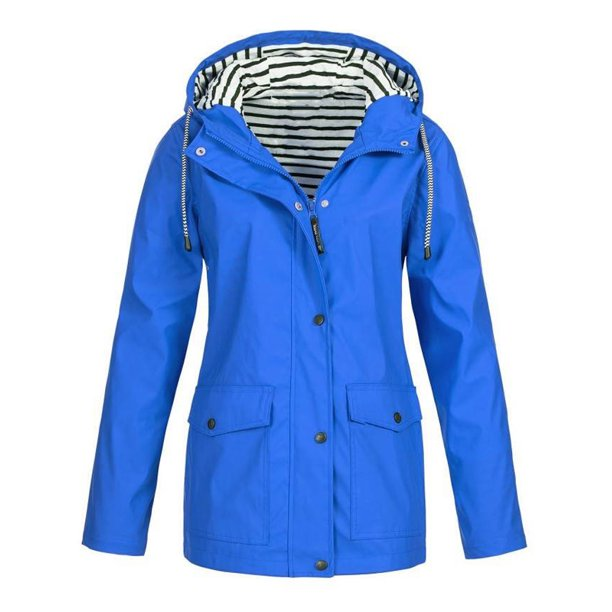 hooded leather jacket womens : JustVH Women's Waterproof Jacket Hooded Lightweigth Raincoat Active Outdoor Trench Coat