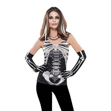 Skeleton Tank Top Womens (AMSCAN Skeleton Tank Top Halloween Costume Accessory for Women, One)