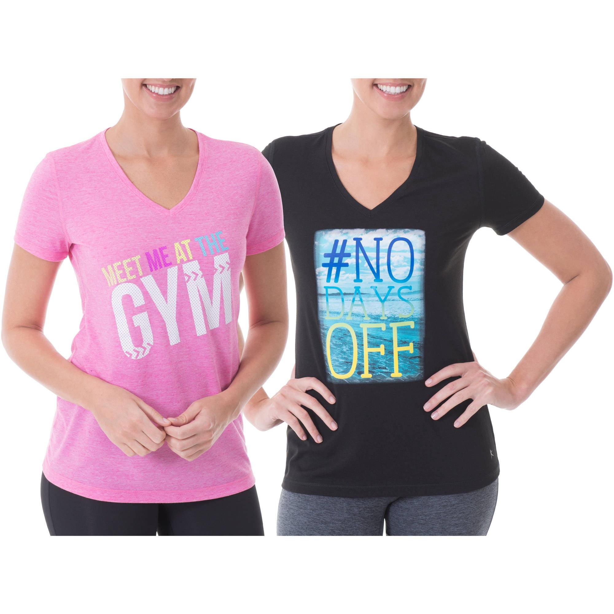 Danskin Now Women's Active Short Sleeve V Neck Printed T-Shirt, 2 Pack Value Bundle