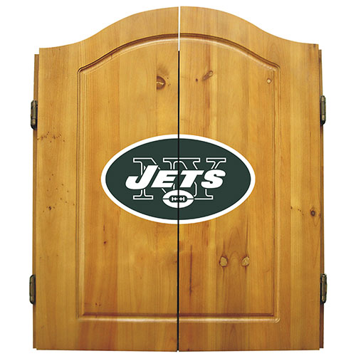 Imperial NFL New York Jets Dart Board Cabinet Set - Classic Style