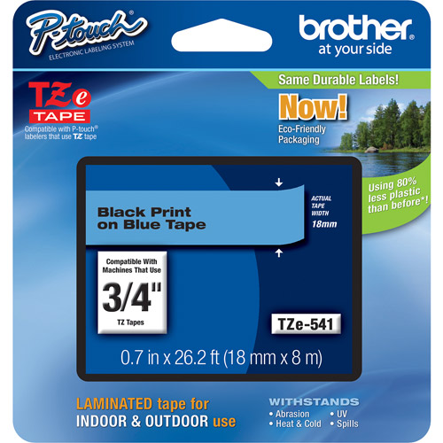 "Brother TZE541 0.75"" Black On Blue Lettering Tape"