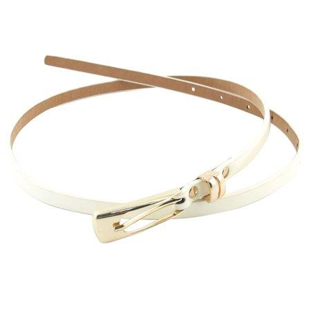 Ladies Flower Decor Single Prong Buckle Skinny Waist Belt Band Off White -