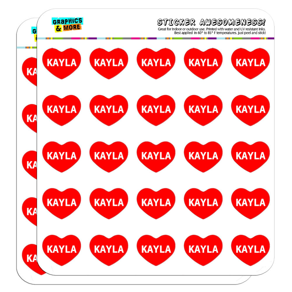 "I Love Heart Heart - Female Names - Kayla - 1"" Scrapbooking Crafting Stickers"