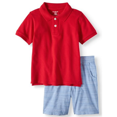Safari Outfit For Toddlers (Toddler Boys' Pique Polo Shirt and Flat Front Shorts, 2-Piece Outfit)