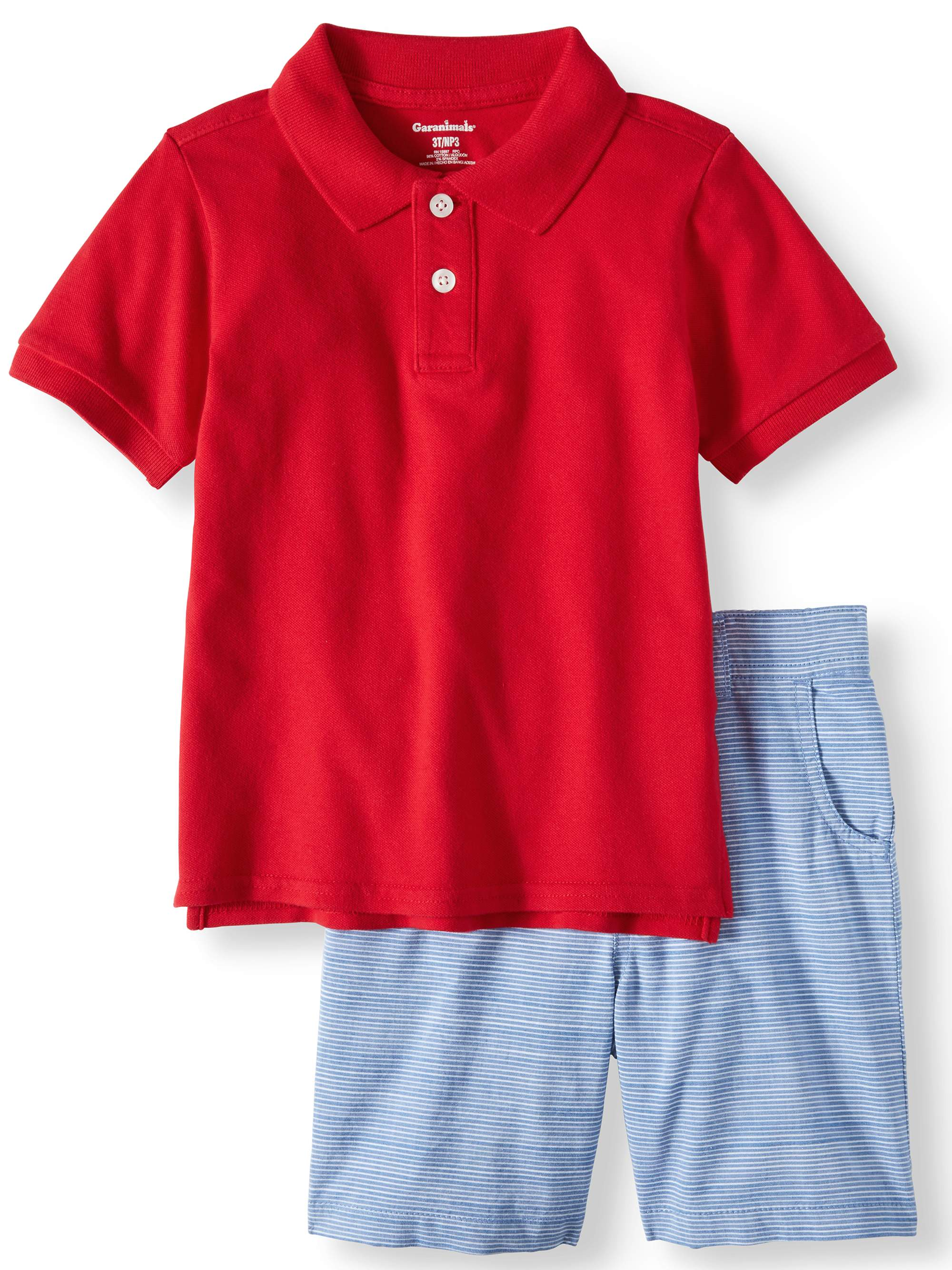 Toddler Boys' Pique Polo Shirt and Flat Front Shorts, 2-Piece Outfit Set