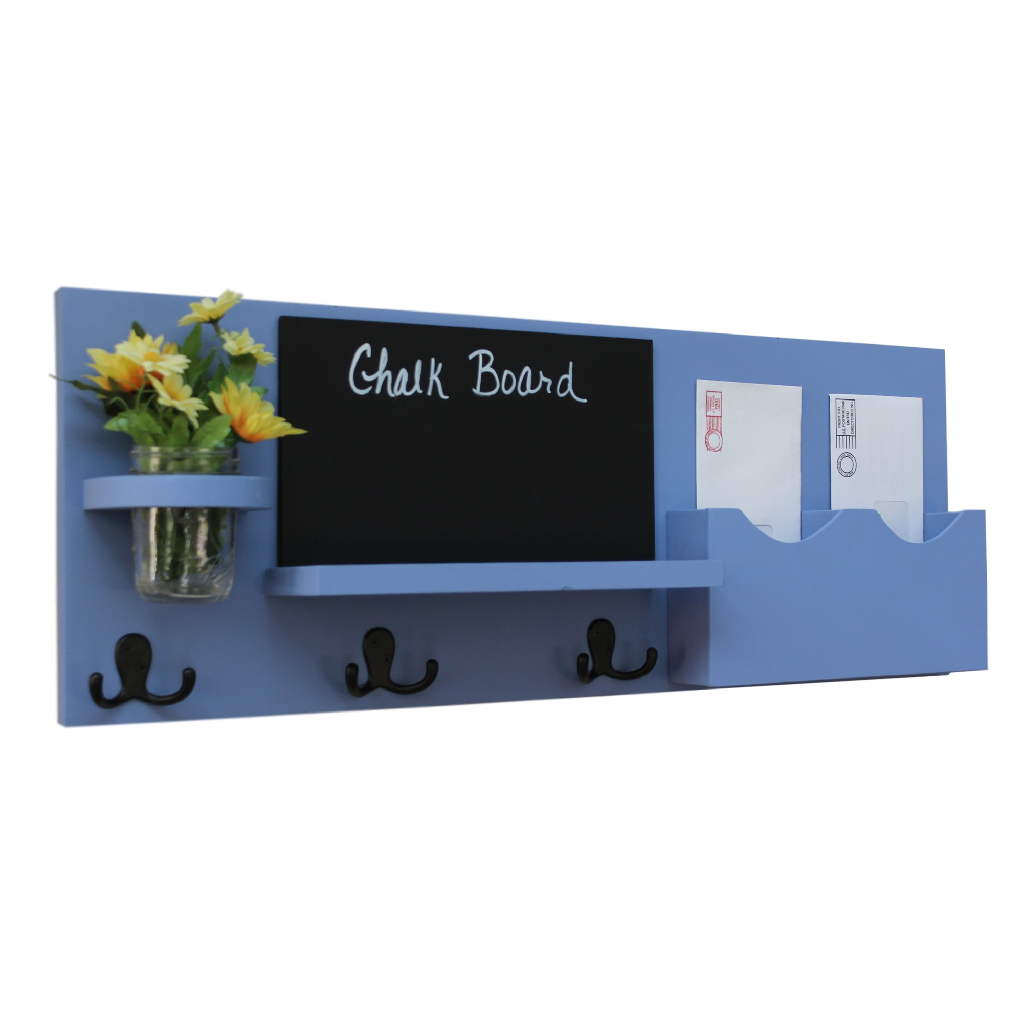 Mail Organizer with Chalkboard, Coat Hooks & Mason Jar