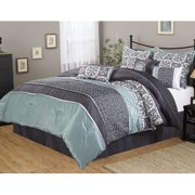 Nanshing Roxanne 7-Piece Bedding Comforter Set, Grey, Queen