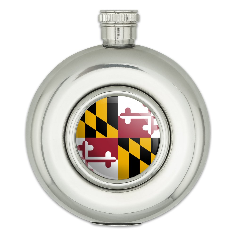 Maryland State Flag Round Stainless Steel 5oz Hip Flask