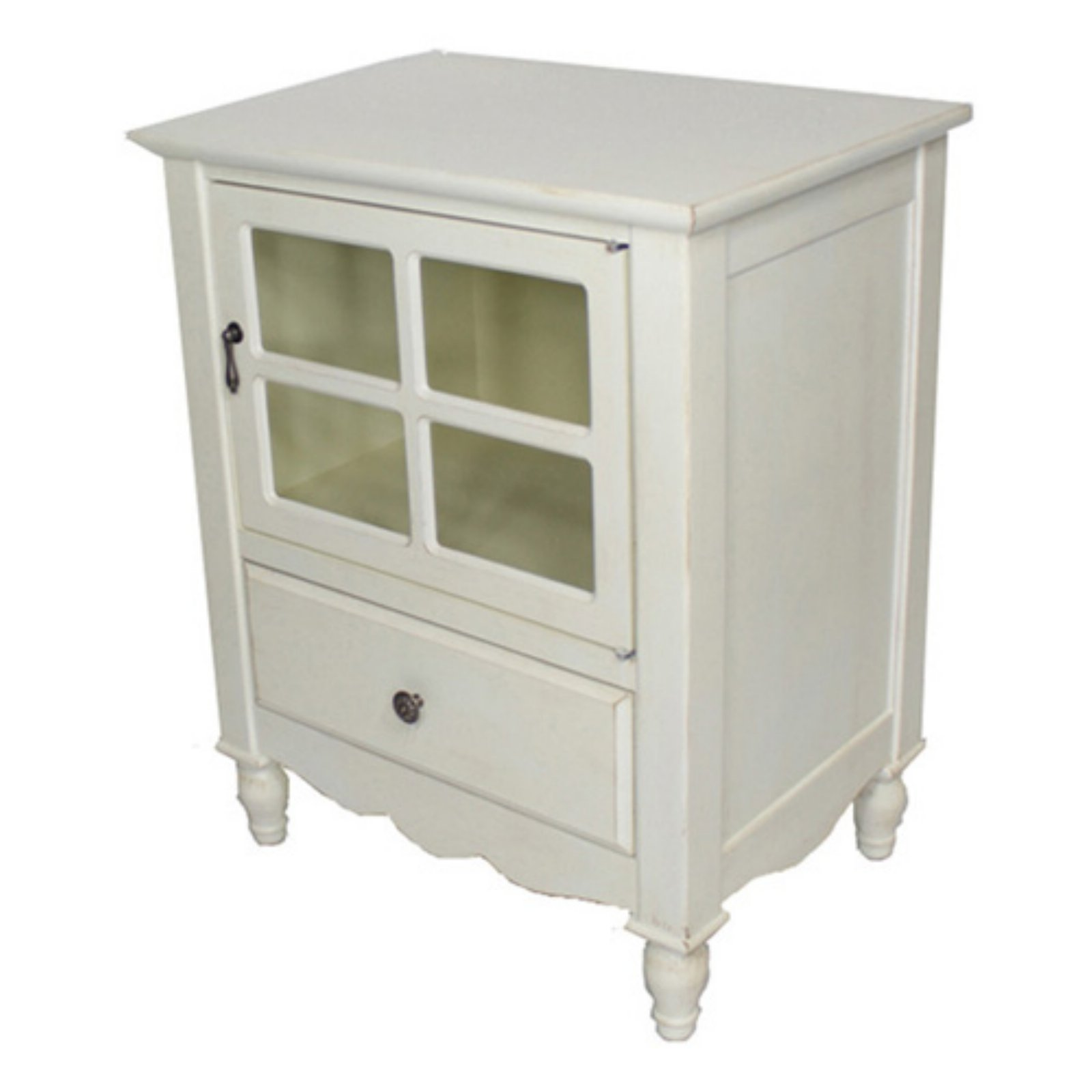 Heather Ann Creations Vivian Paned Glass Small Accent Cabinet