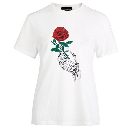 KABOER Rose Shirt White Skeleton Hand Holding Red Rose Printed T-Shirt White 1 - Red Riding Hood Skirt