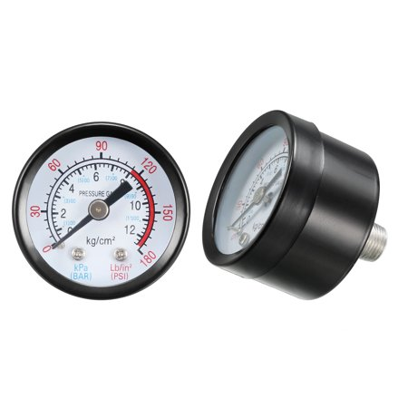 """Pressure Gauge , 0-180 Psi/0-12 Bar Dual Scale , 1.4"""" Dial Display , 1/8"""" NPT Male Center Back Mount , with Aluminium Al - image 1 of 4"""