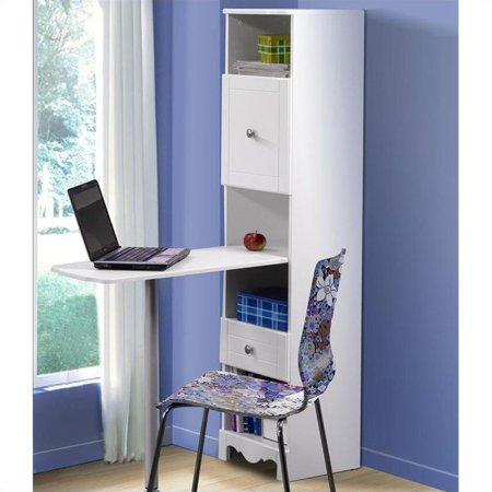 Nexera Pixel Kids Bookshelf Desk With 4 Cubbies Drawer And Cabinet White