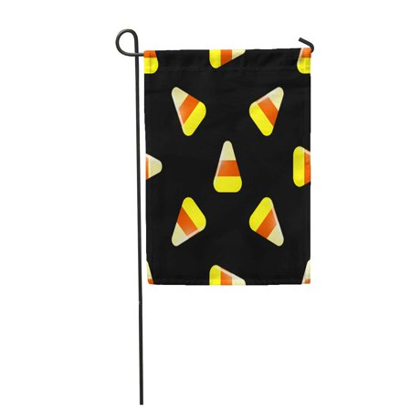 KDAGR Orange Halloween Candy Cartoon Cute Candies Posted on Black Garden Flag Decorative Flag House Banner 12x18 - Post Halloween Candy