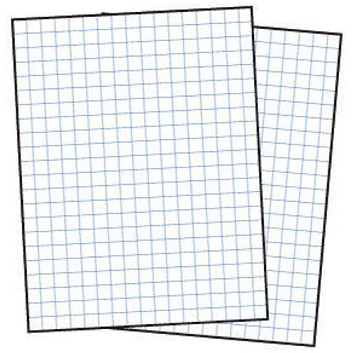 """School Smart 3-Hole Punched Double Sided Graph Paper with Chipboard Back, 8.5"""" x 11"""", 15 lb, White, Pack of 500"""