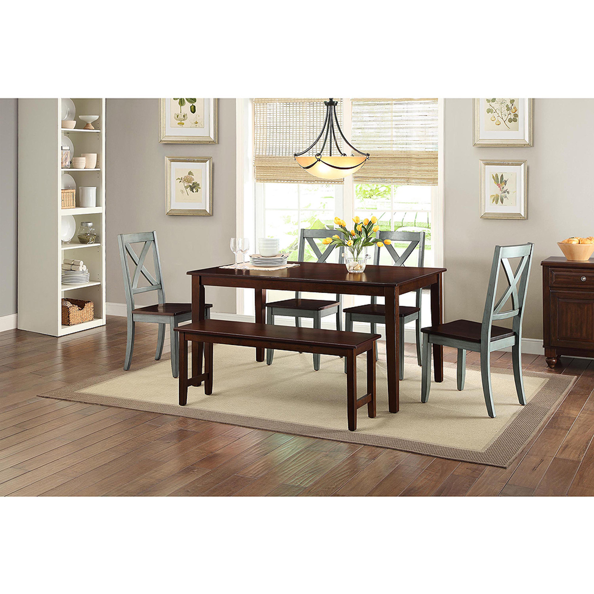 Better Homes And Gardens Bankston Mocha 6 Piece Dining Set With 4 Maddox Blue Chairs Bench