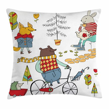 Animal Throw Pillow Cushion Cover, Bear on Bicycle Fox in Raincoat and Bunny with a Teapot Urban Forest Characters, Decorative Square Accent Pillow Case, 20 X 20 Inches, Multicolor, by - Decorative Bunny