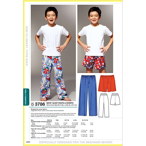 Kwik Sew Pattern Sleep Pants and Shorts, XS (4, 5), S (6), M (7, 8), L (10), XL (12)