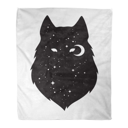Flannel Crescent Cover (SIDONKU Flannel Throw Blanket Silhouette of Wolf Crescent Moon and Stars Black Work Flash Tattoo Pagan Totem Wiccan Familiar Spirit 58x80 Inch Lightweight Cozy Plush Fluffy Warm Fuzzy)