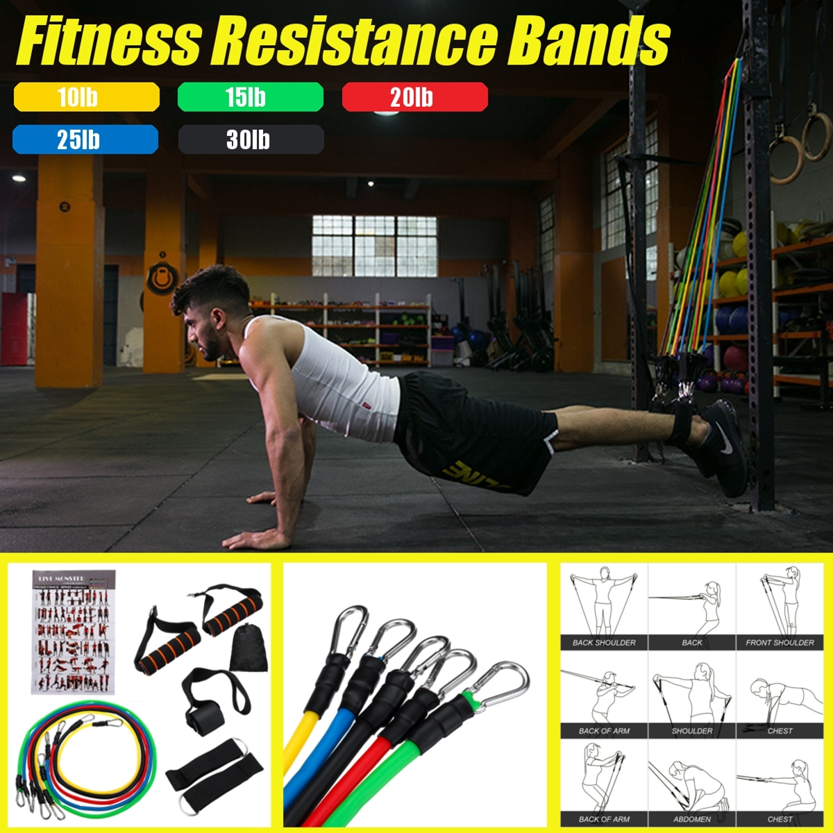 Elastic Resistance Band Stretch Loop Gym Fitness Exercise Workout Yoga Training