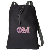Canvas Phi Mu Sorority Backpack Natural Cotton Phi Mu Cinch Bag Lined and with Wide Straps