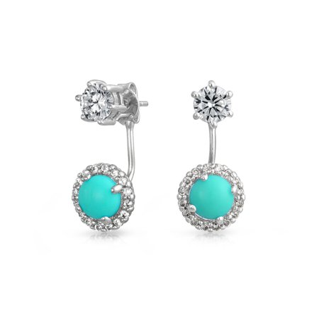 - Dyed Simulated Turquoise Clear CZ Rhodium Plated Brass Ear Jacket Earrings