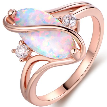 Rose Gold Plated White Fire Opal & Cubic Zirconia Accents (Opal Glass Accent)