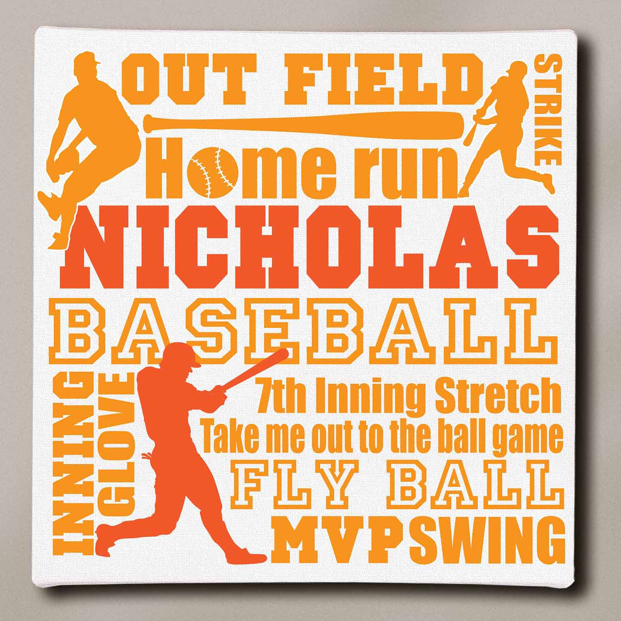 "Personalized Baseball Typography Canvas, 11"" x 11"""