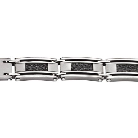 Stainless Steel Genuine Leather Stingray Textured Bracelet, 8.5