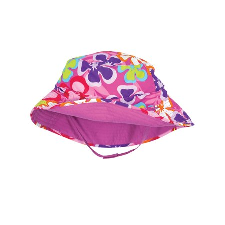 Sun Smarties Luau Pink and Purple Adjustable and Reversible Baby Girl Sun Hat - Hawaiian Floral Design Reverses to Solid Raspberry Pink  Brim Hat  - UPF 50+ Protected