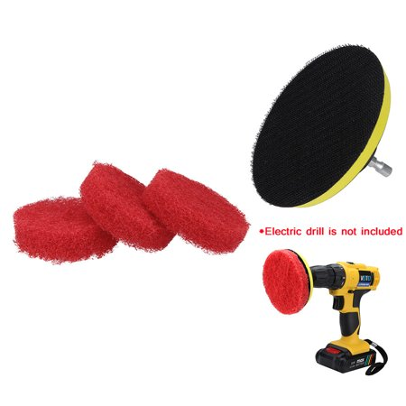 Gobestart 3PCS Bathroom Kitchen Cleaning Drill Brush Set Power Scrub Pad Cleaning Kit Cleaning Scouring Pads Please note, this item ships from an international seller. Expected delivery is 10-15 days.3PCS Bathroom Kitchen Cleaning Drill Brush Set Power Scrub Pad Cleaning Kit Cleaning Scouring PadsSpecification:100% Brand new and high quality3 non-scratch nylon scrub pads 1 velcro backing pad & 1 universal steel shaft (DRILL NOT INCLUDED) Durable velcro backing pad with 1/4  universal steel shaft works with most drill (DRILL NOT INCLUDED) 4-inch diameter oversized flexible scrub pads can be attached from either side to the velcro backing pad, to double the life of your scrub pads (DRILL NOT INCLUDED) Perfect for cleaning hard water stains, bathtubs, toilets, shower doors, windows, sinks, tile, soap scum and more Proven to save time and effort compared to hand scrubbing and other low power units and performance by using professional cleaners and now available to everyone   Color: White,Blue,Red  CLEAN 5X FASTER: Use the power of your drill to clean your bathroom faster, easier and more effectively (Cordless Drill NOT Included).  WORKS WITH ANY DRILL: Universal steel shaft works with any drill, impact driver or cordless screwdriver.  PERFECT FOR SHOWERS AND BATHTUBS: Quickly and easily remove mildew, soap scum, hard water stains, mineral deposits, and other grime from bathroom surfaces like showers, tubs, tile, grout and just about any other hard surface that needs scrubbing.  Screw material is nickel-plated iron  Brush plate is a polypropylene polishing machine self-adhesive tray  The protruding screw diameter is 6.25mm; the screw height is 30mm  The softest white, mainly used for surface cleaning work of leather sofa furniture  Blue is hard, mainly used for cleaning the wall tile floor tiles  Red is thicker than blue and can be used to clean stubborn materials such as kitchens. It can also be used for waxing.  Kitchen cleaning, including kitchen-specific scouring pad, sponge scouring pad and multi-purpose cleaning brush, used together with cleaning solution, can completely remove stubborn stains, clean and wash dishes, absolutely does not damage the surface of the object, durable, is A new generation of cleaning appliances.  Paint finish: Coatings on the surface of metals, wood and other materials, such as lacquer and primer, are treated to enhance the adhesion between the coatings, thus effectively extending the life of the coating.  High-quality decorative line treatment: It can provide decorative lines on the surface of various materials, such as stainless steel surface decorative treatment, antique copper decoration and so on.  Deburring, polishing, descaling, cleaning, can completely remove the rust, dirt, and scale deposits on the surface of various materials. Widely used in weld bead cleaning, mechanical maintenance and cleaning. Note:Electric drill is not included.Please allow 1-5mm errors due to manual measurement.Item color displayed in photos may be showing slightly different on your computer monitor since monitors are not calibrated same.Package included:3 x non-scratch nylon scrub pads1 x velcro backing pad