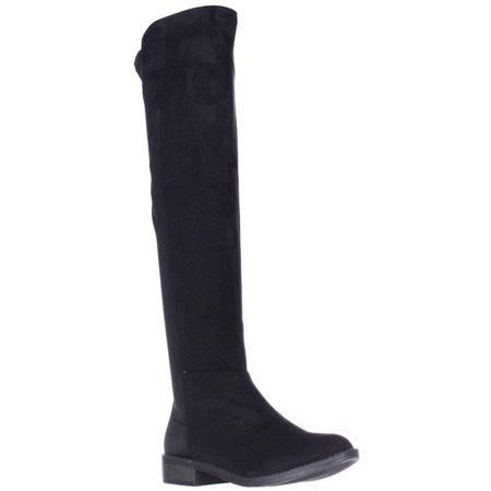 Womens Rebel by Zigi Olaa Over The Knee Stretch Back Boots, Black