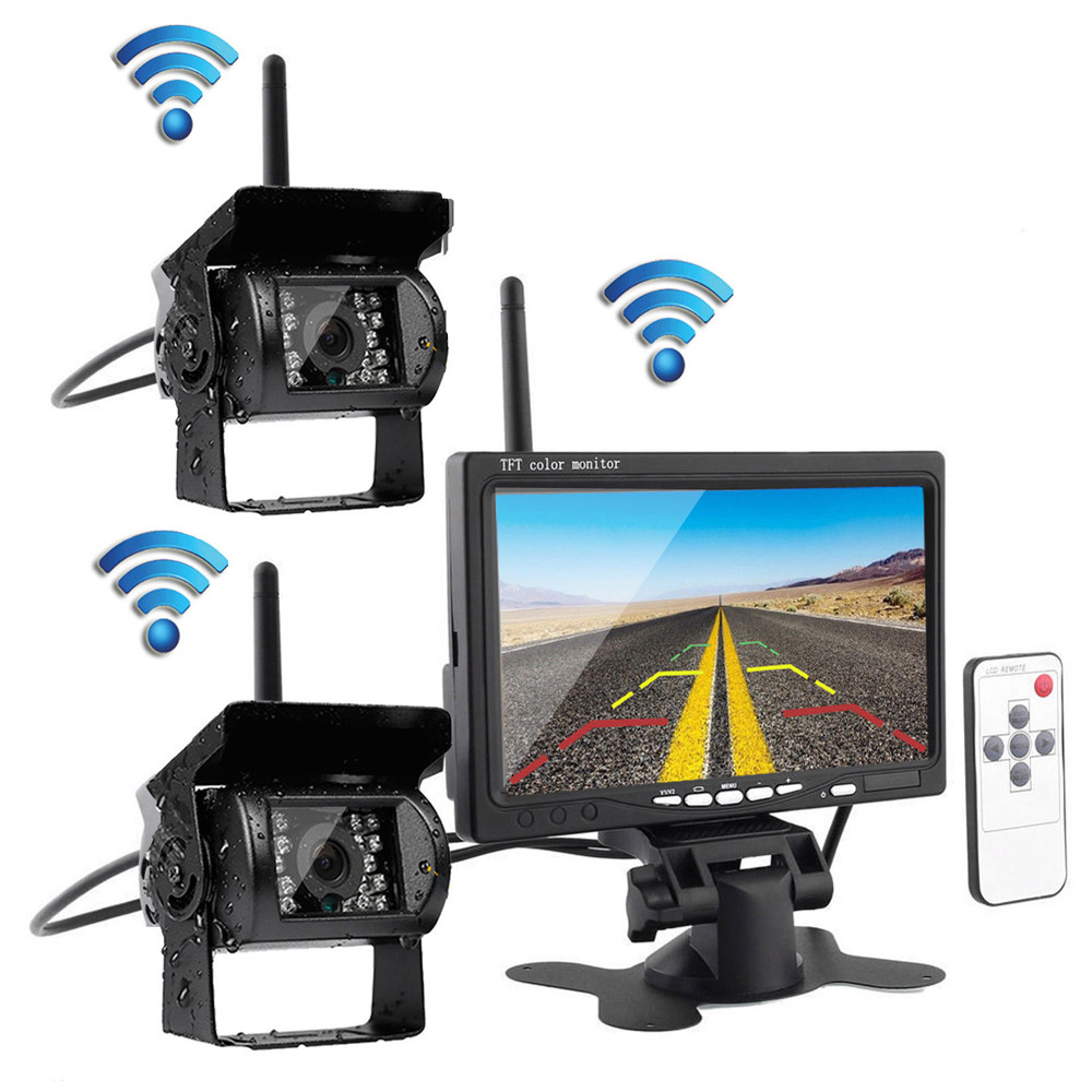 Podofo Wireless Vehicle Truck 2 Backup Cameras & Monitor ...