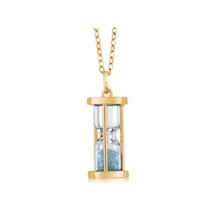 "18k Gold Plated Silver Hourglass Pendant with Aquamarine Dust 18"" Chain - image 5 de 5"