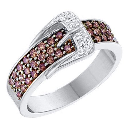 - 14kt White Gold Womens Round Brown Diamond Belt Buckle Band Ring 1/2 Cttw