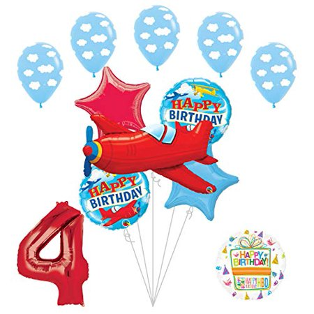 Airplane Birthday Party Supplies (Airplane 4th Birthday Party Supplies Vintage Plane Balloon Bouquet)
