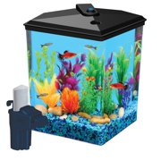 "Aqua Culture 2.5-Gallon Corner Aquarium Kit, LED Light and Filter, 12.3""L x 9.4""W x 11.4""H"