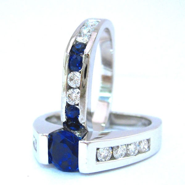 14k White Gold Round Sapphire And Diamond Tension Set Engagement Ring And Band
