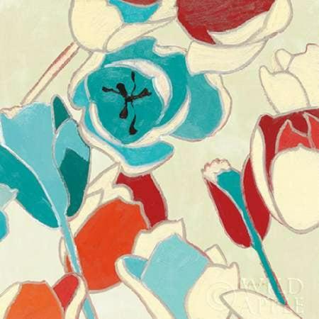 Cloisonne Tulipe I Turquoise Vignette Stretched Canvas - Shirley Novak (12 x (Scalloped Cloisonne)