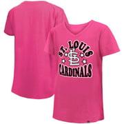 St. Louis Cardinals New Era Girl's Youth Jersey Stars V-Neck T-Shirt - Pink