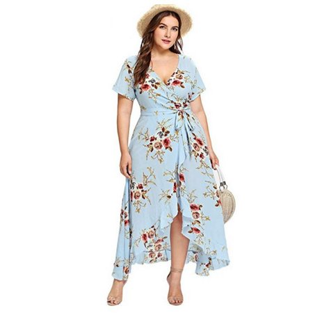 Dress For Women Plus Size Short Sleeves Wrap V Neck Belted Empire Waist Asymmetrical High Low Bohemian Beach Party Maxi Dress