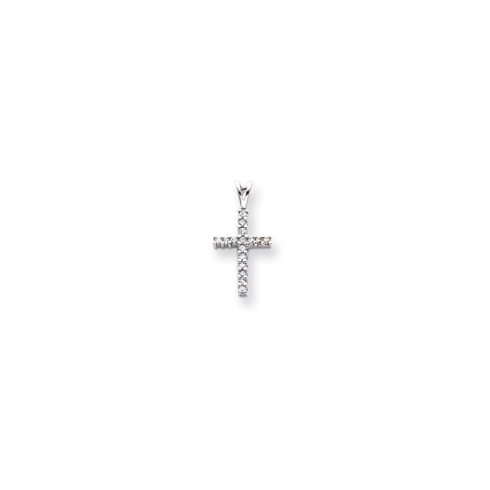 14k White Gold Diamond Latin Cross Pendant. Carat Wt- 0.16ct